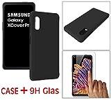 Suncase Schwarz Silikon Hülle kompatibel mit Samsung Galaxy XCover Pro - Stoßfest Flexibel TPU Hülle Handyhülle Schutzhülle Inkl. 9H Panzer Folie Glas