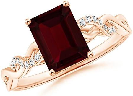 Emerald-Cut Alternative specialty shop dealer Solitaire Natural Garnet 8x6mm Ring Twist Infinity