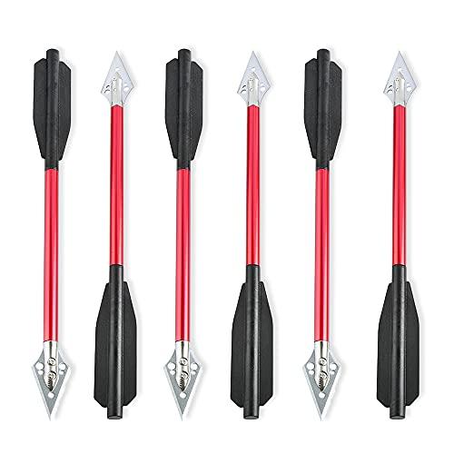 SHARROW 6/12 Stück Armbrustbolzen 6,7 Zoll Aluminium Armbrust Bolzen Pfeile mit Jagdspitzen Tipps Armbrustpfeile für 50-80lbs Mini Armbrust Bogenschießen Angeln Jagd (Rot, 12 Stück)