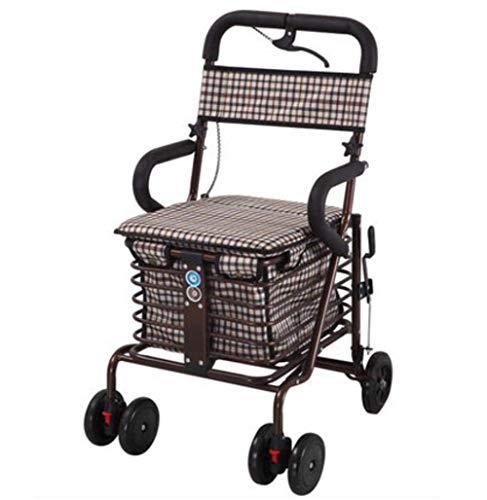 KDMB Einkaufswagen , 4-Rad-Walker-Wagen mit Klappsitz, strapazierfähig und wegklappbar für einfache Aufbewahrung, c