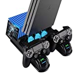 PS4 Pro Cooling Fan, Multifunctional Vertical Cooling Stand and Controller Charger Station for PS4 Slim / PS4 Pro/Playstation 4, with Upgraded LED Indicators and 12PCS Game Storage for PS4/ Slim/Pro