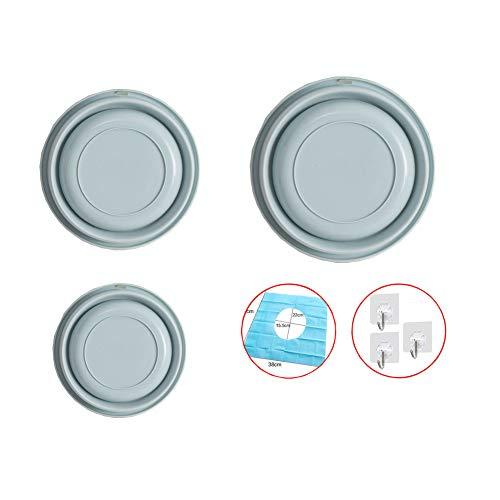 QWET Hopfällbar tvättbänk, flerfunktionell hopfällbar rund tvätt skål handfat för utomhus resor camping vandring (3 st) BLÅ