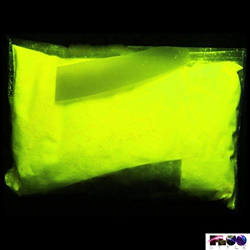 StickersLab - PIGMENTO ADDITIVO POLVERE LUMINESCENTE FLUORESCENTE CHE SI ILLUMINA AL BUIO 5 COLORI (A BASE COLORATA) (20 Grammi, Giallo Fluo)