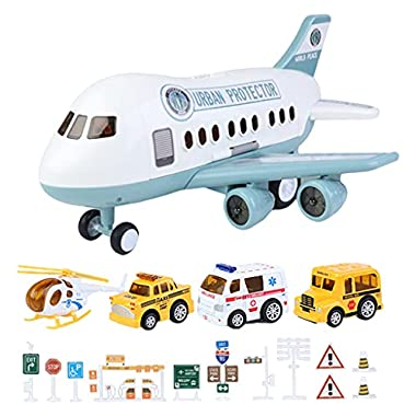Almencla Plastic Simulation Inertial Helicopte Model Plane Toys Early Education Toys Including Vehicles & Road Signs…