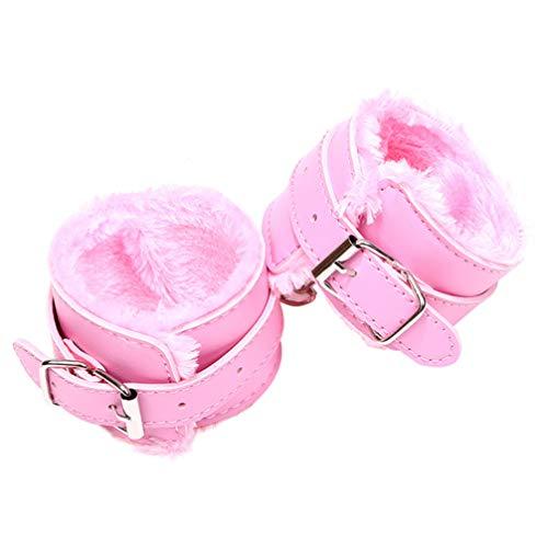 Artibetter esposas de cuero suave cosplay de retención de muñeca ajustable (rosa)