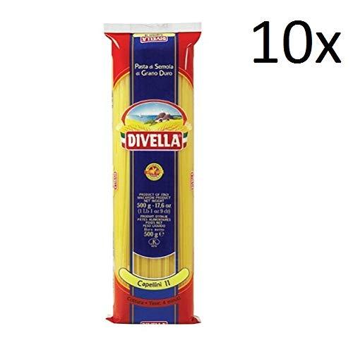 10x Pasta Divella 100% Italienisch N°11 Capellini 500g