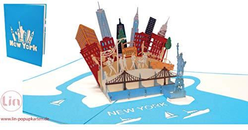 """LIN17604, 3D POP UP Karte\""""NewYork\"""", Reisegutschein, Pop Up Geburtstagskarte, Klappkarte Geburtstag, Stadtkarte Geschenkgutschein Städtetrip New York Amerika USA, N717"""