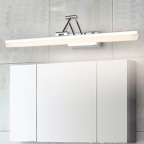 Luz De Espejo LED Rotación Moderna De 180º Lámpara De Armario Con Espejo De Baño Acero Inoxidable Sin Parpadeo Luz De Maquillaje, IP44 Impermeable Antiniebla Iluminación De Pared,61cm warm