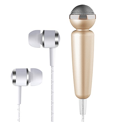 Tarkan HQ Glowing Karaoke Noise Cancelling Microphone with in-Ear Stereo Bass Headphone, 3.5mm Jack [Gold]