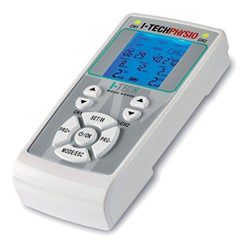 I-TECH Physio, Elettrostimolatore 2 Canali Indipendenti, Display Retroilluminato, Intensità Massima 200 mAh (100 per Canale)