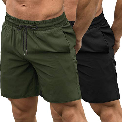 COOFANDY Men's 2 Pack Gym Workout Shorts Quick Dry Bodybuilding Weightlifting Pants Training Running Jogger with Pockets (Black/Olive Green, Large)
