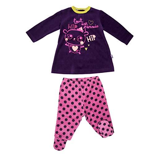 Petit Béguin - Pyjama bébé 2 pièces velours avec pieds Hip Hip - Taille - 9 mois