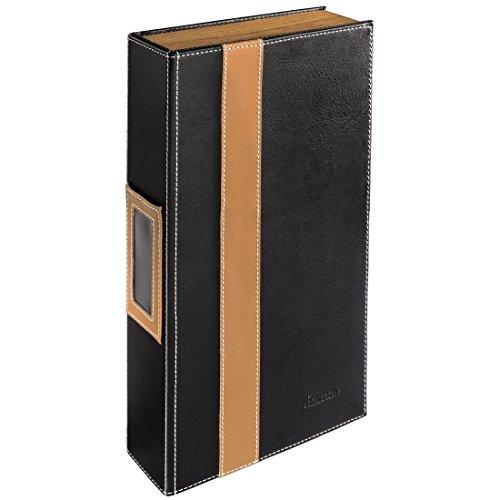 Hama CD-Ordner für 56 CDs/DVDs/Blu-rays, stabile Konstruktion mit Holz-Seitenteilen, schwarz/braun