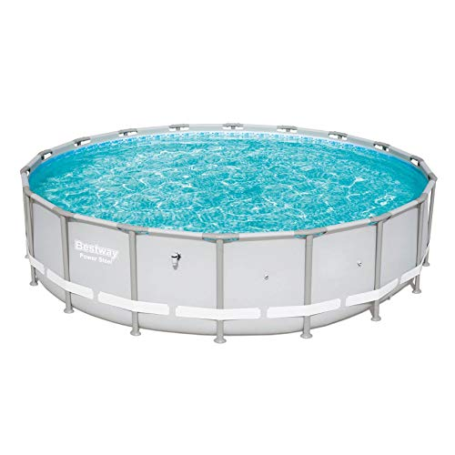 Bestway Power Steel 18ft x 48in Round Above Ground Swimming Pool Frame, Gray