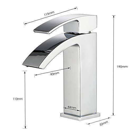 HOMFA Waschtischarmatur Einhelbel Wasserhahn Armatur wasserfall für Badezimmer Waschbecke - 5