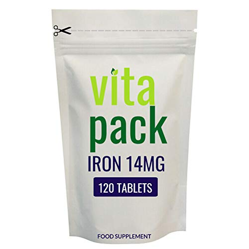 Iron Tablets 14mg - 120 Pack - One a Day - Vegan - Helps Reduce Tiredness & Fatigue, Energy Booster, Supports Immune System, Formation of Red Blood Cells & Cognitive Function - UK Made