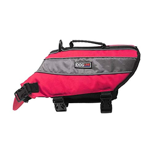 Dogline Dog Life Jacket – Dog Life Vest for Swimming and Boating in Hi-Viz Colors with Reflective Strips Mesh Underbelly for Draining and Drying and Top Carry Handle 15 to 18' Girth Neon Pink