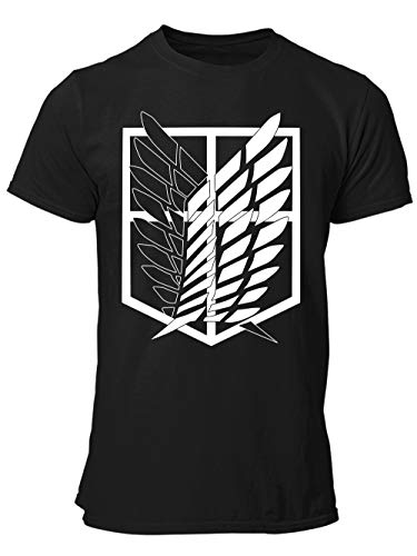 clothinx AOT Scouting Legion Anime und Manga Design mit Titan Aufklärungstrupp Wappen-Schild Perfekt für Cosplay Fans und die nächste Convention Herren T-Shirt Schwarz Gr. L