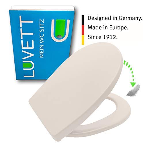 LUVETT WC-Sitz C100 oval mit Absenkautomatik SoftClose® & TakeOff® EasyClean Abnahme, Duroplast Toilettendeckel, Farbe:Pergamon