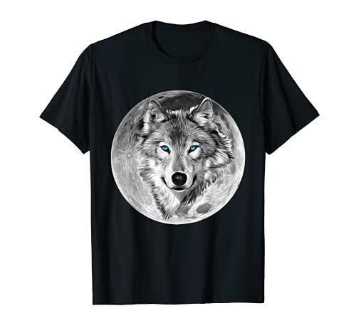 Lobo Motivo Luna Llena Depredadores colorido Lobos Animal Camiseta