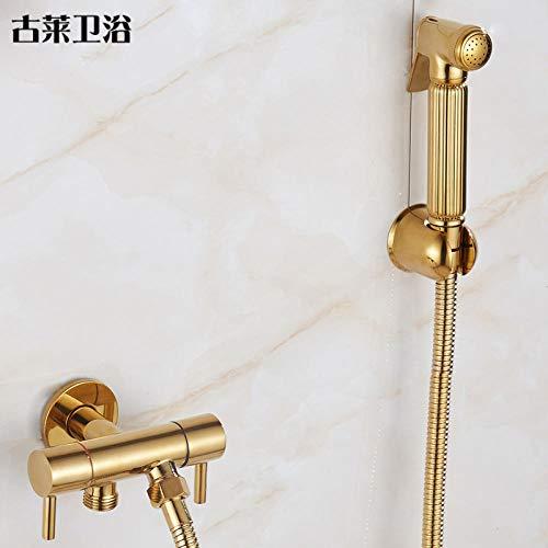 Loodloze kraankraan mondstuk kraan supercharged goud toilet een in twee uit hoek klep schoon lichaam Bidet douche kraan badkamer en keuken installatie, wastafel kranen, badkamer sanitair geen plas. 1848