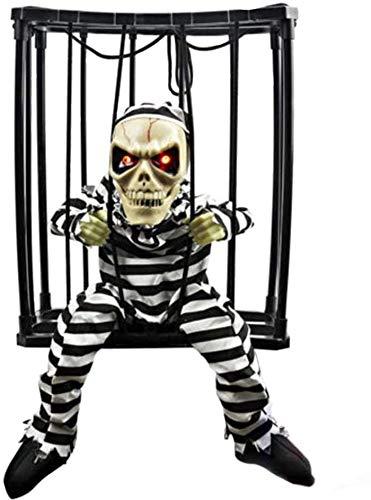 HXXXIN Fantasma Colgante De Halloween, Sensor De Movimiento Que Brilla Intensamente Hablando Esqueleto Prisionero Jaula Juguete De Decoración De Terror. Incrementa La Atmósfera De Terror.