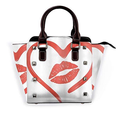 BROWCIN Herz gezeichnet in Lippenstift Lippen Romantik Leidenschaft und Zärtlichkeit Nachricht Abnehmbare mode trend damen handtasche umhängetasche umhängetasche