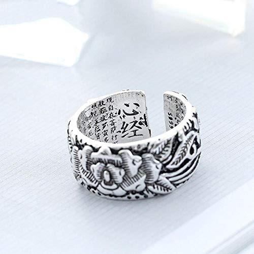 HDDWZH Woman Ring,Jahrgang 925 Sterling Silber Drucken Inschrift Ringe Für Mädchen Damen Größe Verstellbar Aussage Ring Hochzeit Schmuck
