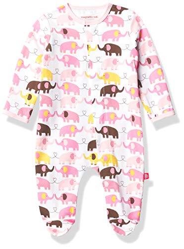 Magnificent Baby Baby-Mädchen Magnetic Smart-Close Footie Strampler, intelligenter Verschluss, magnetisch, Rosa Elefant, Verfrüht (>2.26 kg)