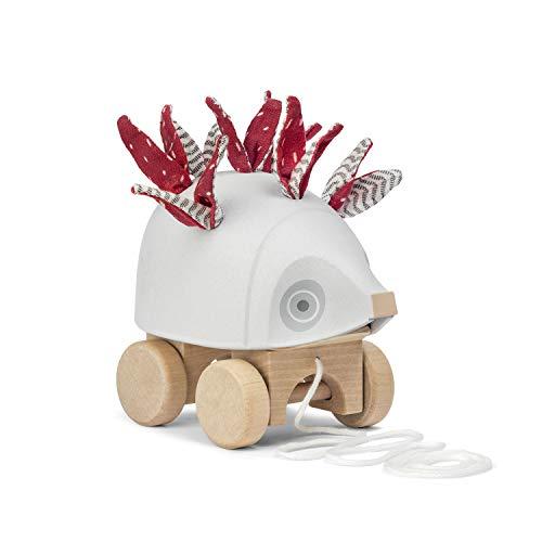 """Micki """"Nachzieh-Igel"""" Nachziehspielzeug aus Holz in Form eines Igels mit Stacheln aus Leinenstoff und Ziehschnur - Motorikspielzeug - BxLxH: 14x8x12 cm - ab 1 Jahr"""