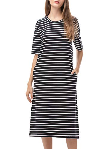 MessBebe Sommerkleid Damen Kleid Sommer Blusenkleid Midi Baumwolle Tshirt Kleider Tunikakleid Shirtkleid Freizeitkleid a Linie Gestreift