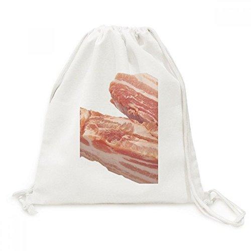 DIYthinker Vet Varkensvlees Ruw Vlees Voedsel Textuur Canvas Trekkoord Rugzak Reizen Winkelzakken