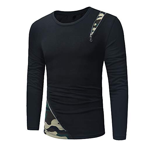 Men's Long Sleeve T-Shirt Shirt Slim fit Round Neck Camouflage Patchwork Shirt Sweatshirt Sport Casual T-Shirt Breathable Comfortable with Zip Fashionable Novelty Streetwear Sport Tops XL