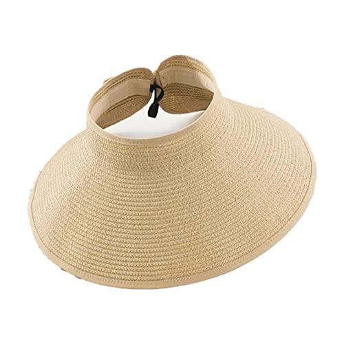 UKKD Sombrero De Copa Vacío Sombrero De Paja con Sombrero De Paja con Sombrero De Paja con Sombrero De Sol Protector UV-Beige,Adjustable