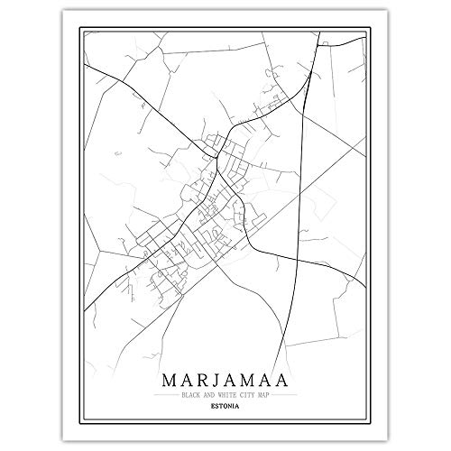 peng Prints Canvas, Estonia Marjamaa City Map Black White Simple Minimalist Art Mural Poster Frame less Picture,Modern Vertical Painting Cafe Office Home Decor,20 * 30cm