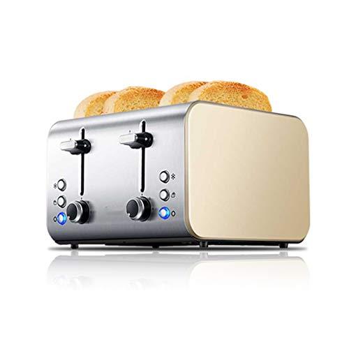 XIAOSAKU Tostadoras Pan Tostadora de Hogares Tostador máquina 4 rebanadas tostadora Calefacción Desayuno de la Tostada tostadora Fácil de Limpiar