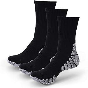 3 Pares Calcetines Running para Hombre Mujer - Deporte Calcetines Cortos de Algodón con Amortiguación Respirable Running Ciclismo (3 Pares Negro, EU 43-47)
