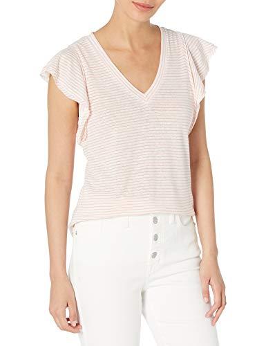 Ella Moss Women's Gemma Ruffle Sleeve Tee Shirt, Georgia Peach Stripe, Large