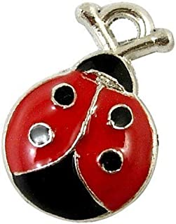 HA08220 - Charming Beads Pack of 10 x Red//Black Enamel /& Alloy 18mm Charms LADYBUG -