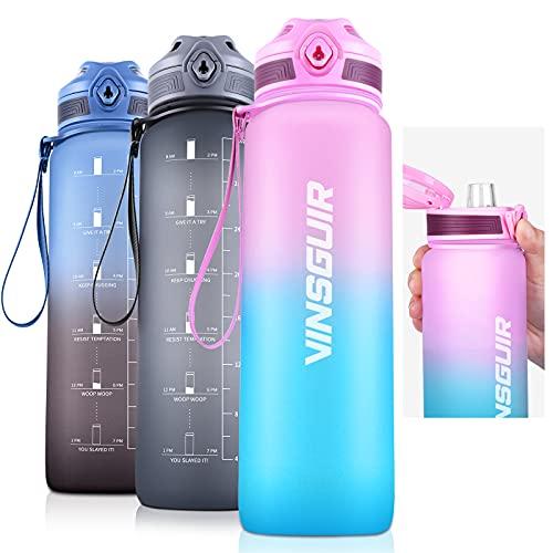 Vinsguir 32 oz Water Bottle with Motivational Time Marker & Measurements, 1 Liter BPA Free Water Jug for Women Men (No Straw)