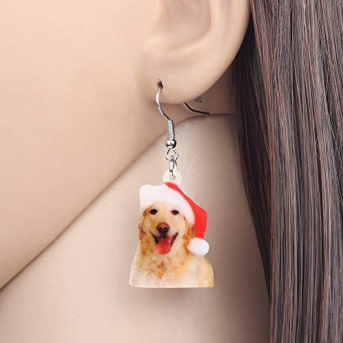 EHXWL Acryl Weihnachtsmütze Golden Retriever Hund Ohrringe Tropfen Baumeln Tier Schmuck Für Frauen Mädchen Teen Party Geschenk Zubehör