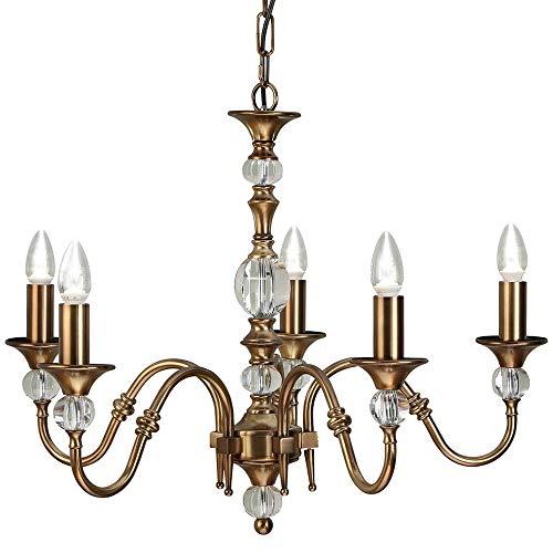 Diana | Luxus Hängeleuchte Pendelleuchte - Messing Antik | K9 Kristallglas Details - 5x Lampenfassung Hochzeit Kronleuchter - Großer opulenter Traditioneller Kandelaber - Höhenverstellbar