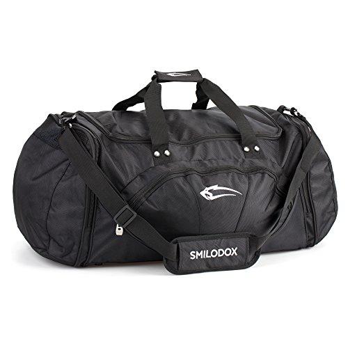SMILODOX Premium Sporttasche ideal für Fitness Sport & Reisen   Trainingstasche mit vielen Fächern Tragegurt & Schultergurt   Gym Bag - Reisetasche - Tasche Groß, Farbe:Schwarz