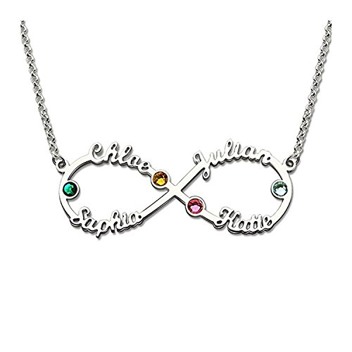 Lloveliness Infinity Necklace Personalised 4 Name Friend BFF Family Silver...