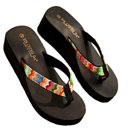 Sandalias Mujer Verano 2019 SHOBDW Rebajas Zapatos Tangas Chanclas para Mujer Slim Zapatillas Cuña Mujer Plataforma Zapatos de Playa Boho(Negro,38 EU)