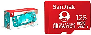 Nintendo Switch Lite - Turquoise with SanDisk 128GB MicroSDXC UHS-I Card for Nintendo Switch