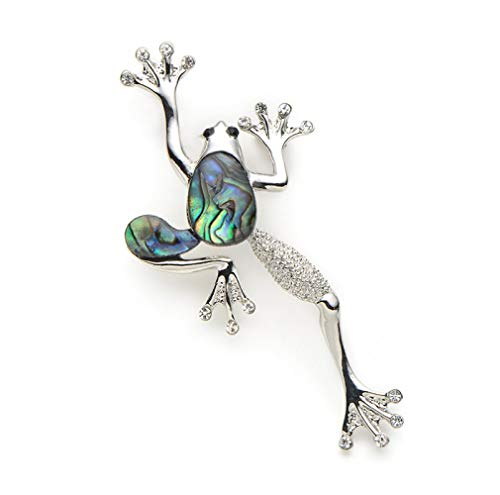 CLEARNICE Alloy Natural Shell Frog Brooches Women Men Banquet Metal Animal Brooch Pins for Suits Dress Fashion Hat Scarf Pins Corsage
