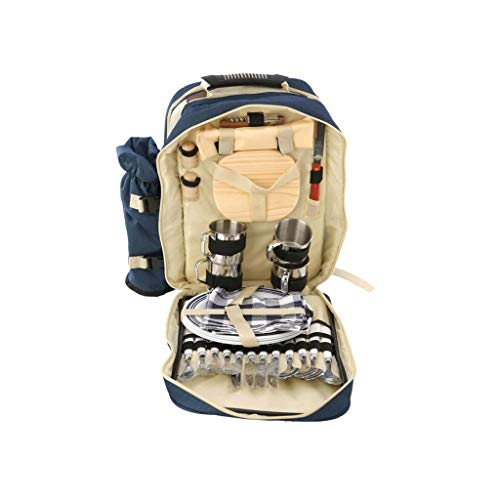 Outdoor camping picnic bag Picnic Backpack Bag for 4 Person with Detachable Insulation Bags Picnic Basket for Outdoor Hiking Camping BBQs (Color : Dark blue, Size : 40 * 20 * 50cm)
