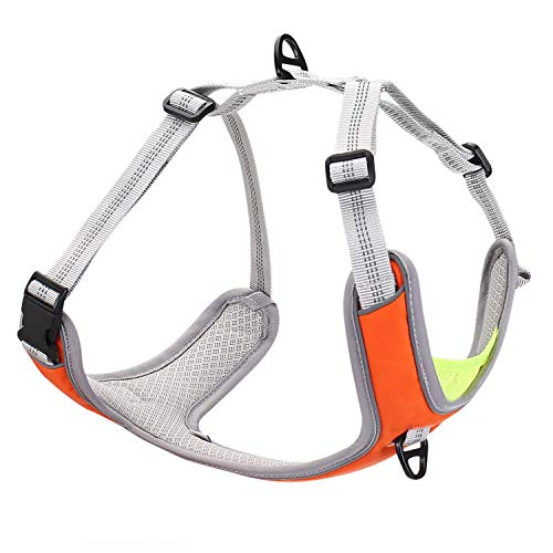 Dog Harness No Pull No Choke Adjustable Pet Vest, Durable, Breathable Easy Control for Running Hiking Training, Reflective Oxford Material - Step in for Medium, Large, XL Dog Breed - Orange