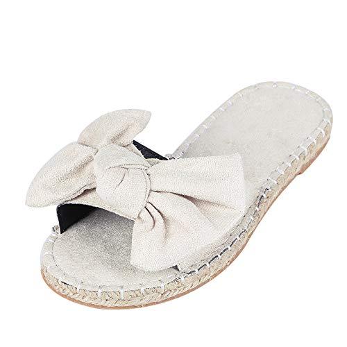 Vertvie Damen Pantoletten mit Schleife Komfort Sommer Sandalen in hochwertiger Tuch Weich Freizeit Strandsandalen Outdoor Flip Flops(38 EU, cremefarben)